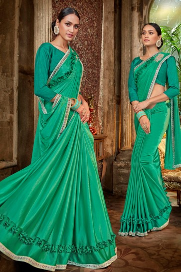 Classy Rama Embroidred And Lace Work Satin And Silk Flare Saree With Banglori Silk Blouse