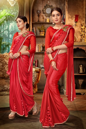 Red Embroidred And Lace Work Satin And Silk Flare Saree With Banglori Silk Blouse