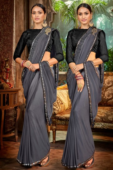 Embroidred And Lace Work Grey Satin And Silk Flare Saree With Banglori Silk Blouse