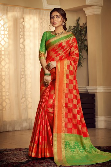 Red Weaving Work And Jacquard Work Designer Silk Saree And Blouse