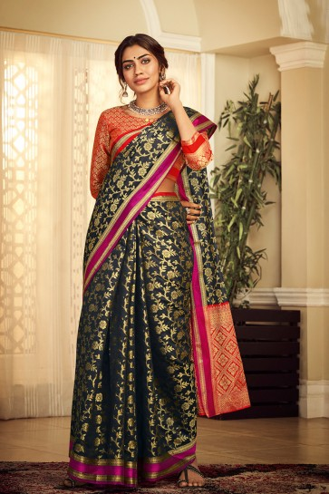Stylish Black Jacquard Work And Zari Work Silk Saree And Blouse