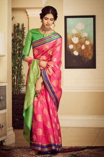 Party Wear Light Pink Weaving Work And Jacquard Work Silk Saree And Blouse