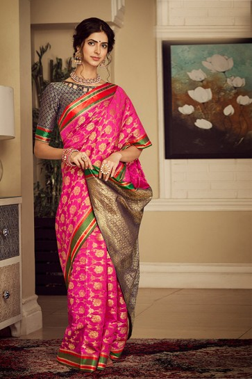 Appealing Pink Weaving Work And Jacquard Work Silk Saree And Blouse