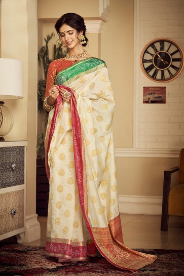 Weaving Work And Jacquard Work Off White Silk Designer Saree And Blouse