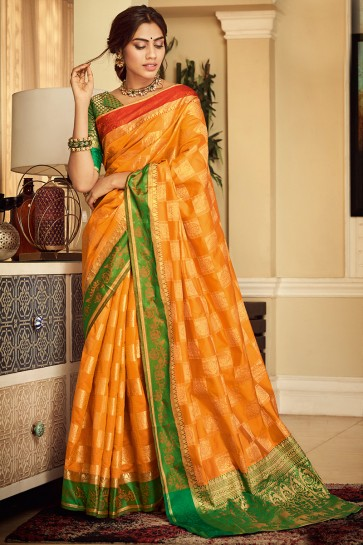 Splendid Yellow Weaving Work And Jacquard Work Silk Saree And Blouse
