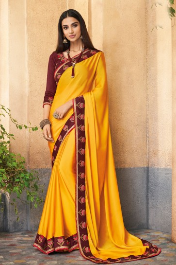 Heavy Designer Yellow Embroidered Silk Saree With Banglori Silk Blouse