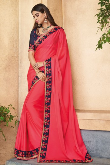 Solid Pink Embroidered Silk Saree With Border With Banglori Silk Blouse