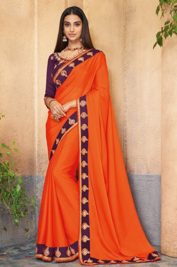 Excellent Orange Embroidered Silk Saree With Banglori Silk Blouse
