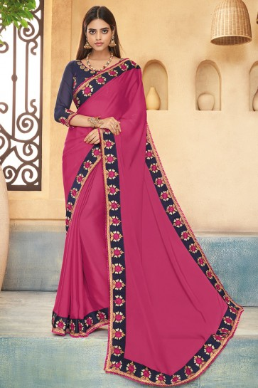 Delicate Pink Embroidered Silk Saree With Banglori Silk Blouse
