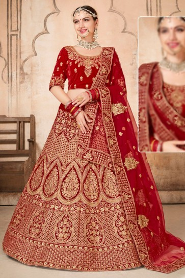 Excellent Velvet Red Stone work And Embroidred Lehenga Choli With Net Dupatta