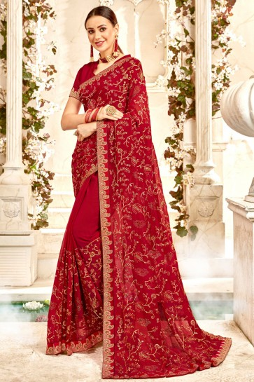 Georgette Fabric Maroon Border And Embroidery Work Designer Saree And Blouse
