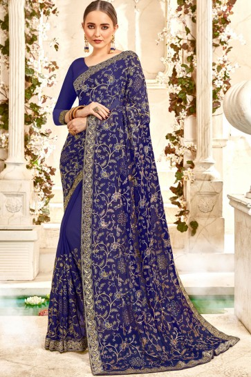Fascinating Blue Embroidery And Lace Work Georgette Fabric Saree And Blouse