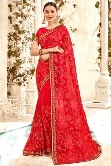 Party Wear Red Border And Embroidery Work Designer Georgette Fabric Saree And Blouse