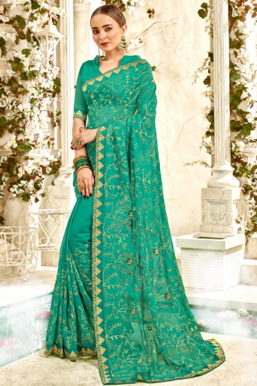 Desirable Green Embroidery And Lace Work Georgette Fabric Saree And Blouse