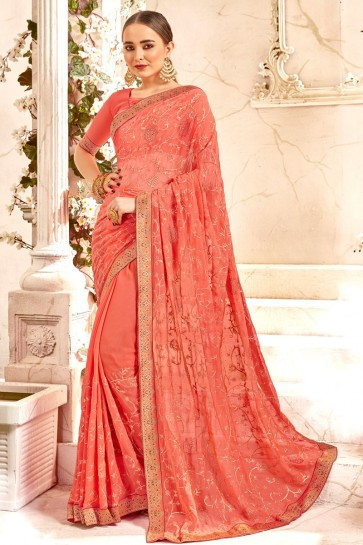 Border Work And Lace Work Peach Georgette Fabric Stylish Saree And Blouse