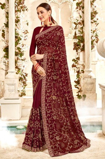 Delightful Georgette Fabric Brown Border And Embroidery Work Saree And Blouse