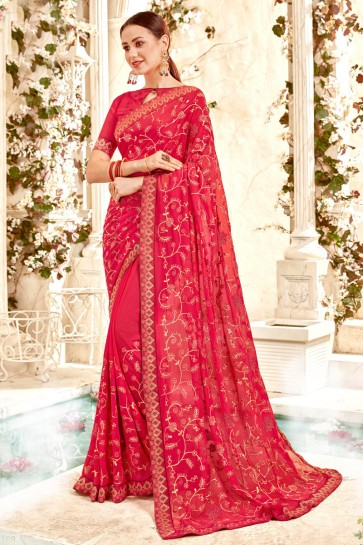 Appealing Border Work And Lace Work Red Solid Saree With Georgette Blouse