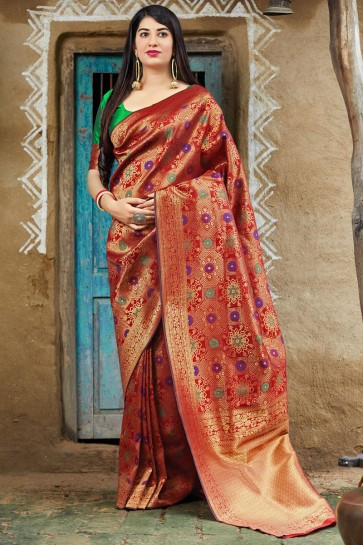 Multi Color Banarasi Silk Fabric Weaving Work And Jacquard Work Saree And Blouse