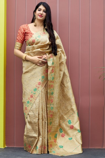 Pretty Jacquard Work And Weaving Work Beige Banarasi Silk Saree And Blouse