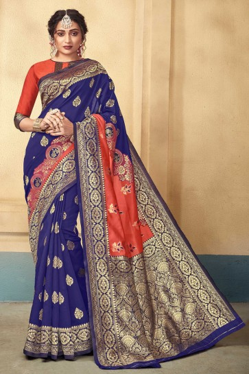 Royal Blue Silk Fabric Jacquard Work And Weaving Work Designer Saree And Blouse