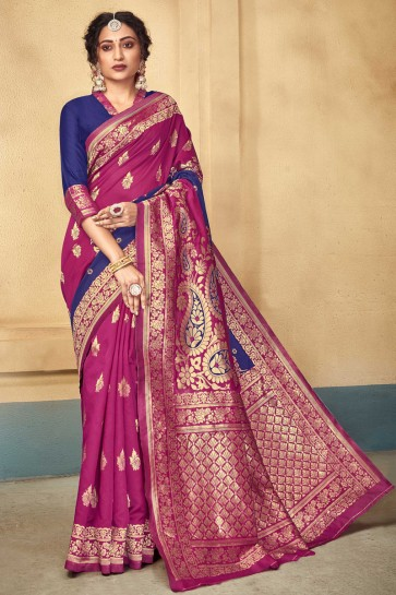 Weaving Work And Jacquard Work Pink Silk Fabric Designer Saree And Blouse