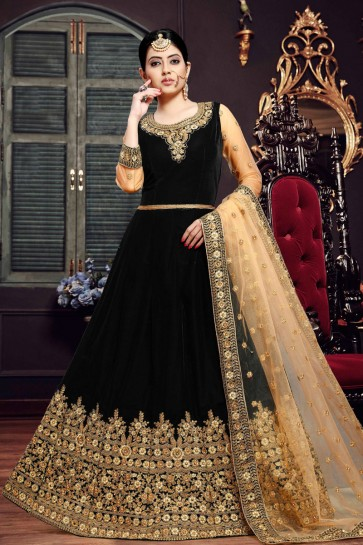 Excellent Black Embroidered Velvet Anarkali Suit With Net Dupatta