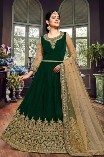 Stylish Green Embroidered Velvet Anarkali Suit With Net Dupatta