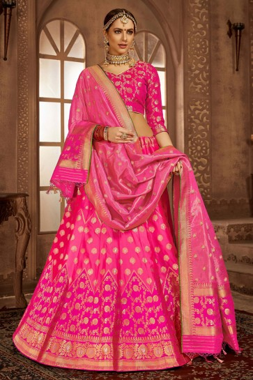 Admirable Banarasi Silk Pink Jacquard Work And Weaving Work Lehenga Choli And Dupatta