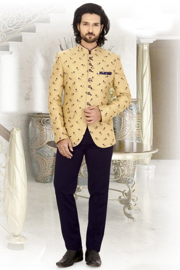 Jacquard Fabric Cream Printed Jodhpuri Indo Western With Rayon Bottom