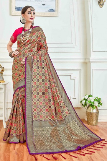 Party Wear Multi Color Jacquard Work And Weaving Work Art Silk Saree And Blouse