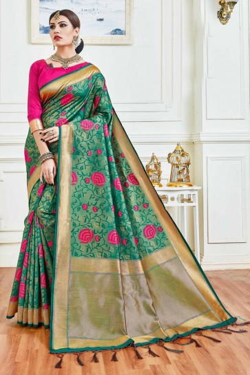 Splendid Sea Green Jacquard Work And Weaving Work Art Silk Saree And Blouse