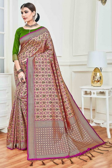 Appealing Multi Color Jacquard Work And Weaving Work Art Silk Saree And Blouse