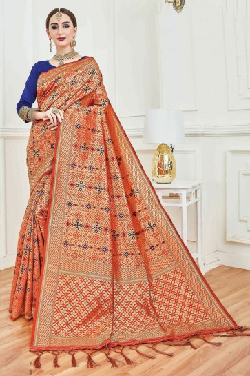 Pretty Jacquard Work And Weaving Work Orange Art Silk Saree And Blouse