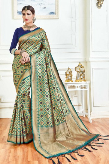 Stylish Multi Color Jacquard Work And Weaving Work Art Silk Saree And Blouse