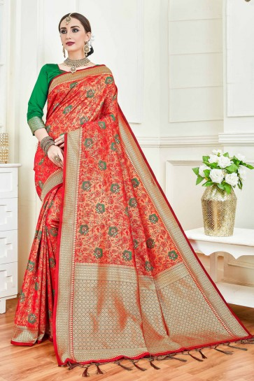 Red Jacquard Work And Weaving Work Art Silk Saree And Blouse