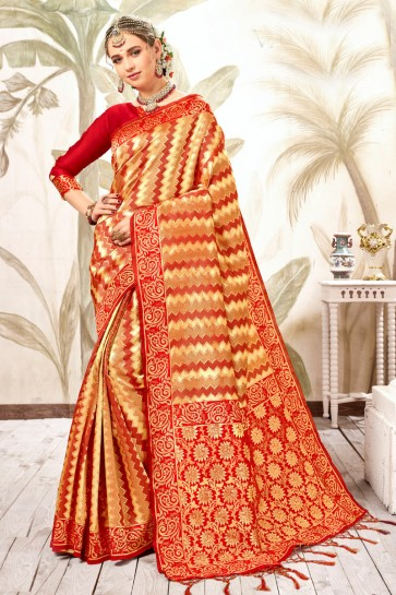 Heavy Designer Golden Weaving Work And Jacquard Work Designer Silk Saree And Blouse