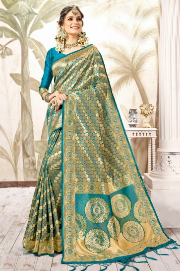Supreme Blue Weaving Work And Jacquard Work Silk Saree And Blouse