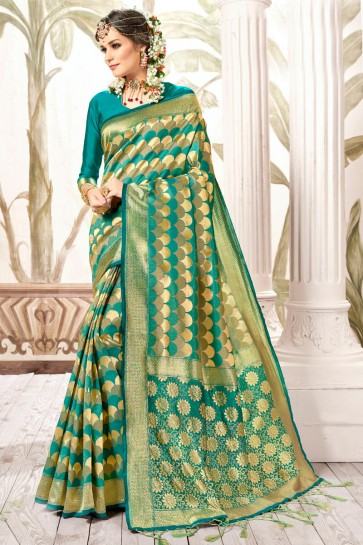 Excellent Multi Color Weaving Work And Jacquard Work Silk Saree And Blouse