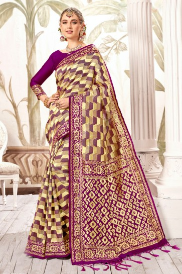 Pretty Multi Color Weaving Work And Jacquard Work Silk Saree And Blouse