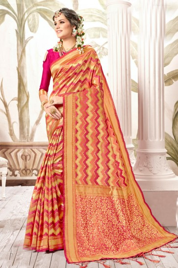 Ultimate Multi Color Weaving Work And Jacquard Work Silk Saree And Blouse