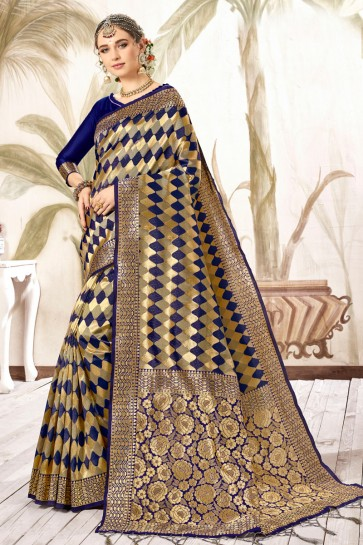 Classy Wear Multi Color Weaving Work And Jacquard Work Work Silk Saree And Blouse