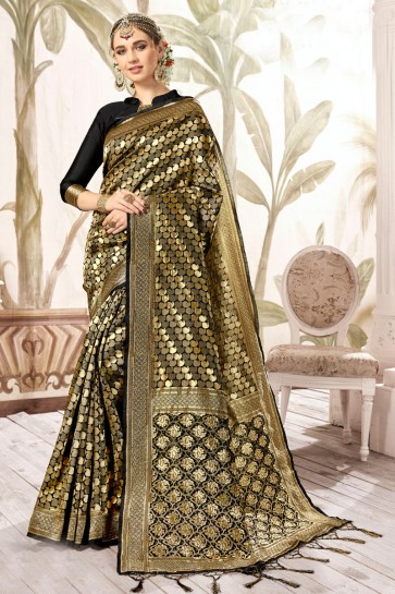 Pleasing Multi Color Weaving Work And Jacquard Work Designer Silk Saree And Blouse