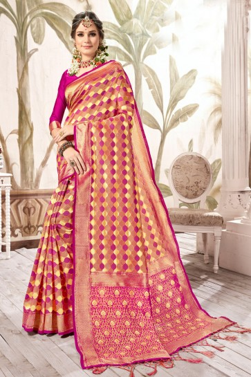 Graceful Weaving Work And Jacquard Work Multi Color Silk Designer Saree And Blouse