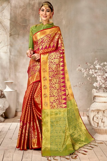 Graceful Red Weaving Work And Jacquard Work Designer Silk Saree And Blouse