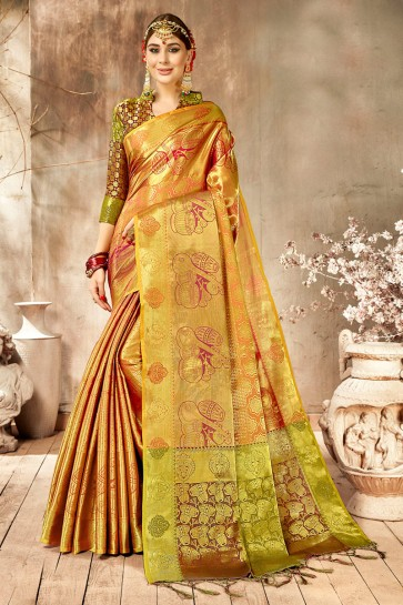 Fascinating Golden Weaving Work And Jacquard Work Silk Saree And Blouse