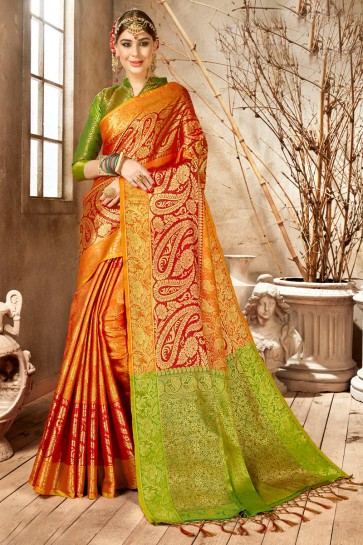 Delightful Weaving Work And Jacquard Work Multi Color Silk Saree And Blouse