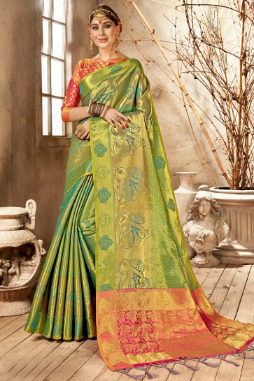 Dazzling Green Weaving Work And Jacquard Work Silk Saree And Blouse