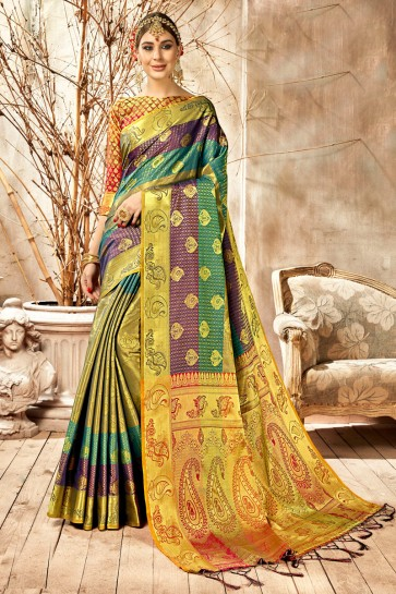Appealing Multi Color Weaving Work And Jacquard Work Silk Saree And Blouse