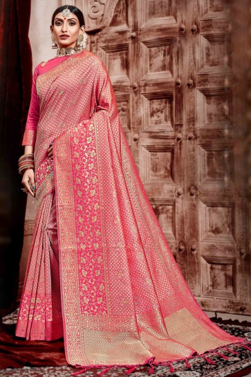 Stunning Weaving Work Designer Pink Silk Fabric Saree With Border Work Blouse