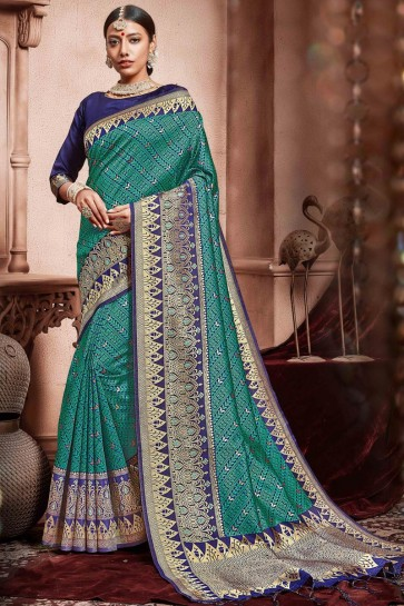 Awesome Green Weaving Work Designer Silk Fabric Saree With Border Work Blouse